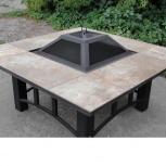 Костровой металлический стол-барбекю с крышкой (120x120х60 см), Волгоград