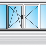 Балкон ПВХ Двустворчатые профиль 58мм стеклопакет 24мм, Волгоград