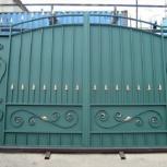 Распашные сварные ворота с ковкой, с профнастилом, Волгоград